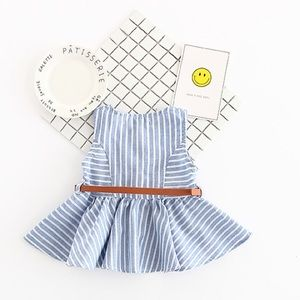 Stripe dress top with yellow patterned bottom